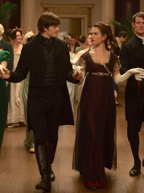 Sam Riley as Mr. Darcy and Lily James as Elizabeth Bennet in Pride and Prejudice…