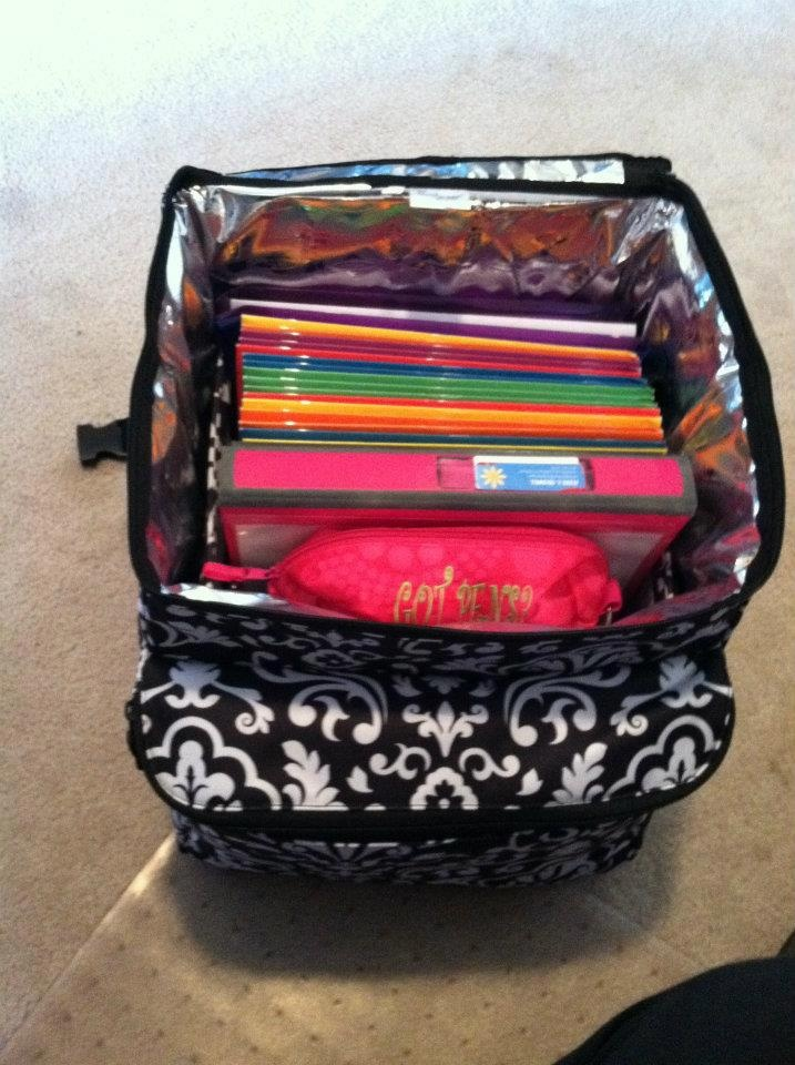 Making memories thermal as a rolling office. available only in May when you host a $200 party u can get this awesome bag for just $31!!! Contact me today to book your party:) mythirtyone.com/ashleyhancock