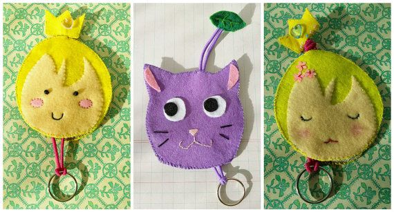 key pouch holder key chain cat and girls by Kats13stuff on Etsy