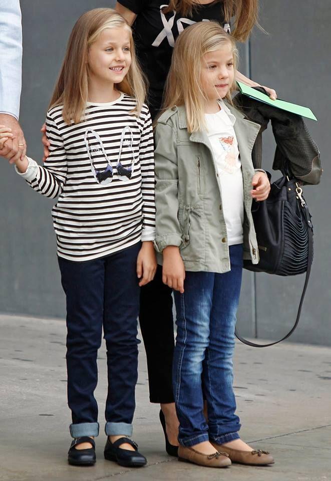 Infantas Leonor and Sofia of Spain visit King Juan Carlos in hospital 9/27/2013