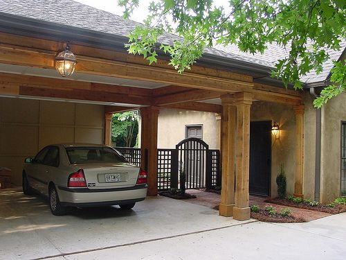 View after a new carport gate and walkway were added by for Carport gate ideas