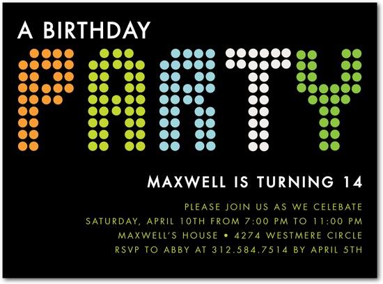Birthday Party Invitation Idea Teen Boy Fun Lights:Black