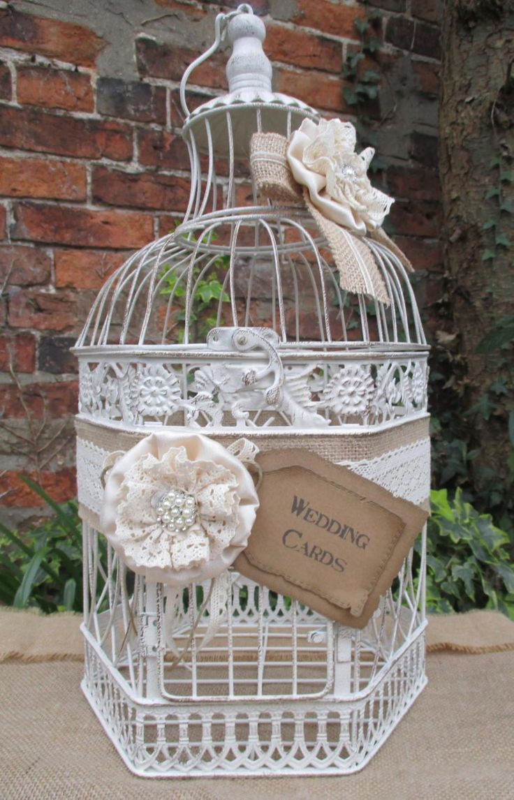 Birdcage Wedding Card Post Box Holder With Flowers