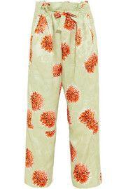EtroPrinted cropped silk-jacquard wide-leg pants
