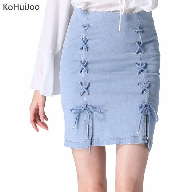 KoHuiJoo Lace Up Denim Skirt Women Plus Size High Waist Casual Summer Short Jeans Skirts Streetwear Stretch Fashion Pencil Skirt