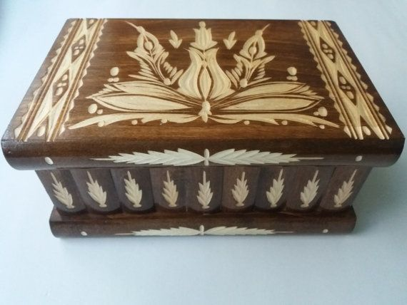 Premium Valentine's gift new big,huge box,brown, handmade puzzle box,secret box, magic box,jewelry box,case,handcarved wooden storage box