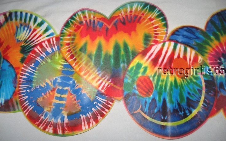 Expressions 70's Tie Dye Cut Hippie Peace Smiley  Flower Power Wallpaper Border #Expressions