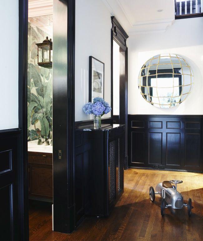 Philip Gorrivan Designs: black woodwork, Banana Leaf wallpaper, lantern