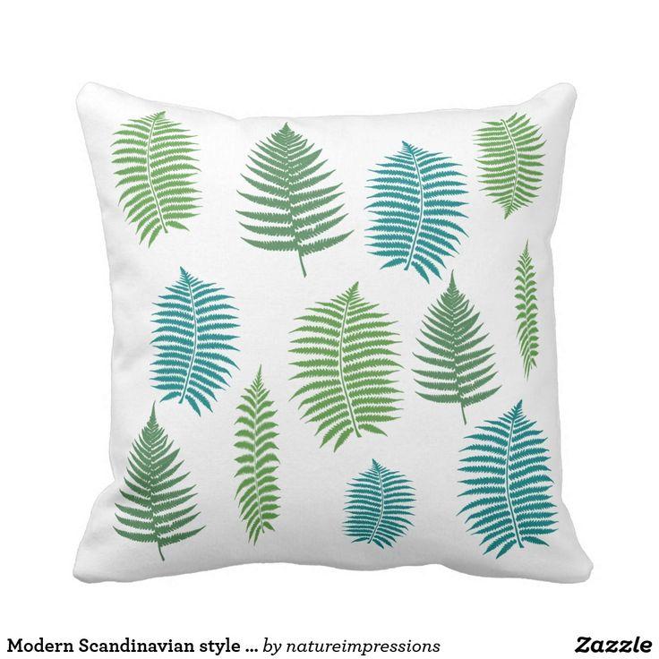 Modern Scandinavian style abstract fern leaves Throw Pillow