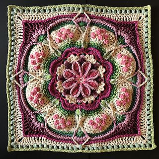 A large super-textured, decorative floral block. From BoHo to Classic Neutrals, this block looks gorgeous in any colourway! This square was designed with a finished product in mind. Meaning, once you have completed the square you will have a ready-sized cushion cover frontispiece. But don't stop there. Join nine squares to make a striking lapghan and twelve squares…well, you'll have a blanket! This large piece is designed to be easily upsized or downsized by changing your hook size and/o...