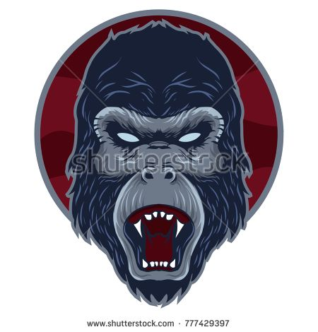 head of gorilla with blue color and red circle backgrounds
