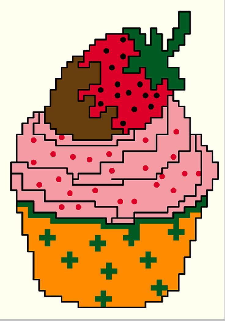 FREE CROSS STITCH PATTERN : Strawberry Cupcake