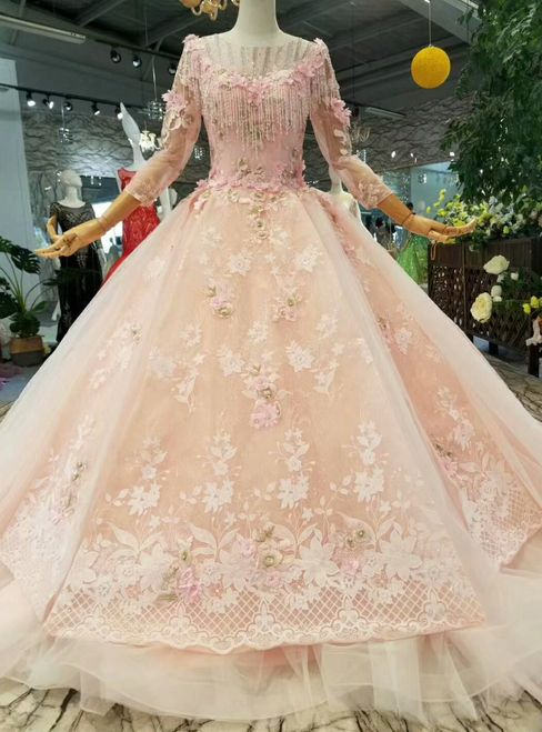 ed5a6ddbbb4e Pink Princess Ball Gown Tulle Appliques 3/4 Sleeve Wedding Dress in ...