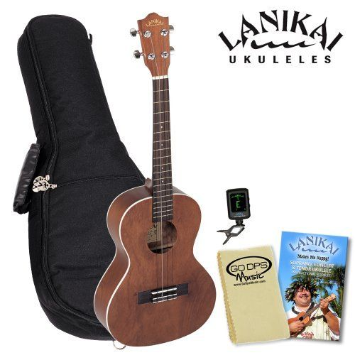 Lanikai LU-21T Tenor Ukulele Kit - Includes: Lanikai Gig Bag, Instructional Booklet, Lanikai CO-UT Uke Tuner & GoDpsMusic Cleaning Cloth by Lanikai. $129.98. The Lanikai LU-21T Ukulele has a larger sized tenor body. The LU series is Lanikai's most popular and affordable ukuleles. They are perfect first stop for acoustic multi-instrumentalist looking to expand their tonal palette or the first time player just beginning their lifelong love of music. All LU series ukuleles include ...