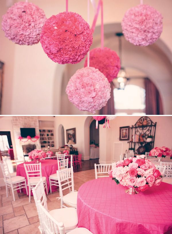 Bridal shower decor - beautiful and easy to do in your own home! I Guess A Hello Kitty Wedding Would Be Nice.