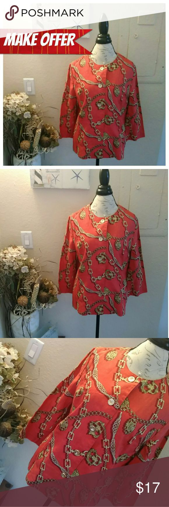 Red & Gold Chains Design Long Sleeve Size 14 *ASK FOR DISCOUNTED SHIPPING!*  Condition: NWOT Brand: JM Collection Size: 14  Beautiful red long sleeve blouse with button down front.  Gold chain design all over the shirt  *BUNDLE TO SAVE! BUNDLE DISCOUNTS!* Tops