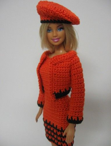 Crocheted Barbie clothes orange dress jacket hat handmade ...