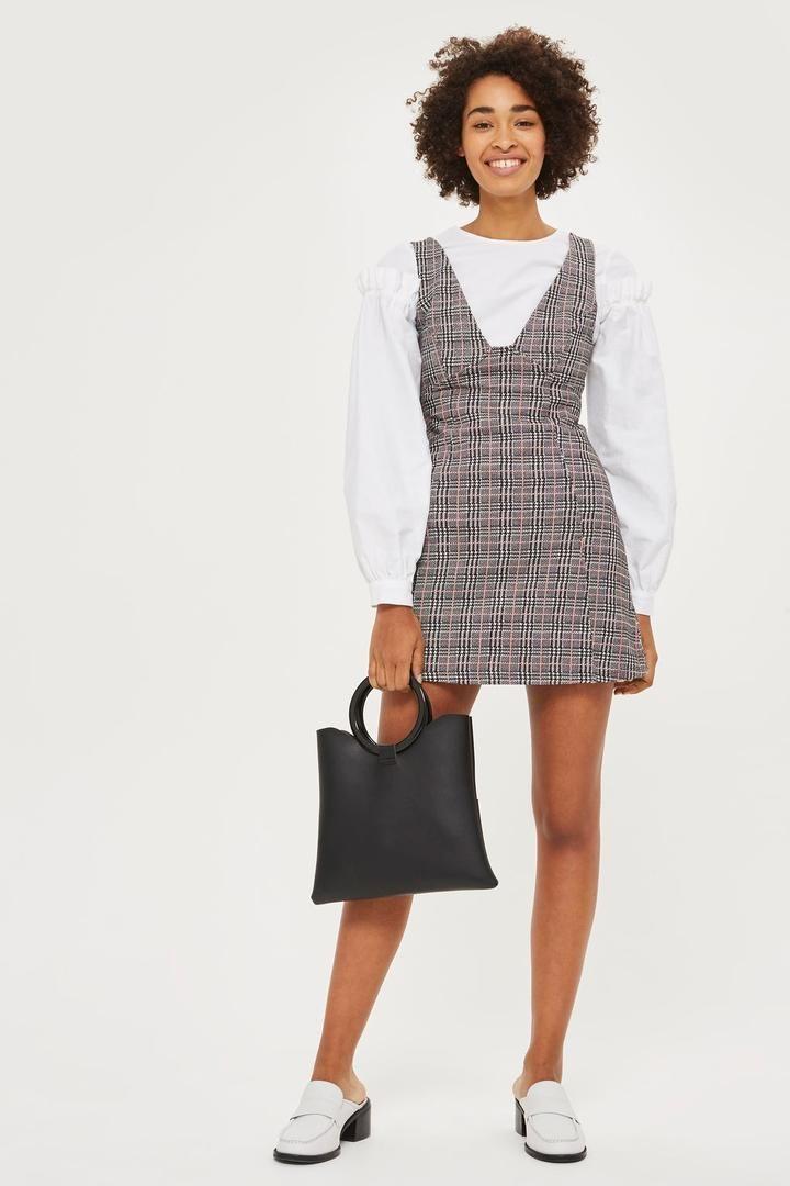 Topshop Check A-Line Pinafore Dress