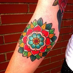 Tattoo - Flower - Rosace - Color - Traditional - Arm