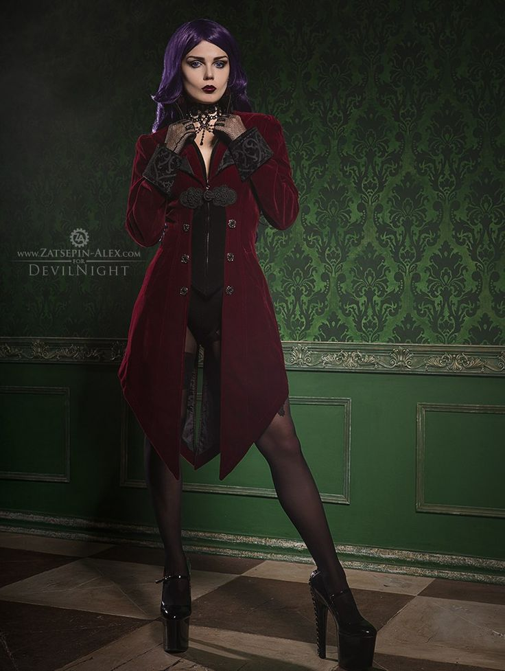 Red Vintage Gothic Swallow Tail Jacket for Women - Devilnight.co.uk