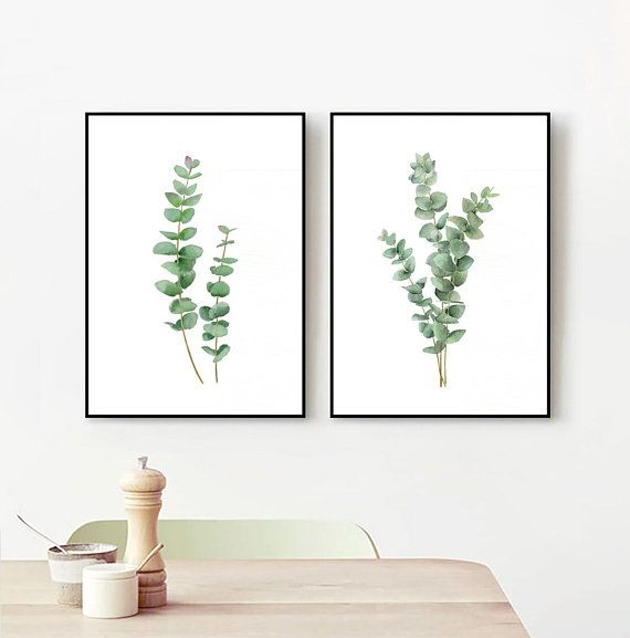 Set Of 2 Eucalyptus Watercolor Painting Prints Green Leaf Art