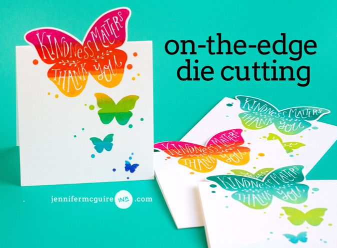 Rainbow Stamping and Edge Die Cutting Video by Jennifer McGuire Ink