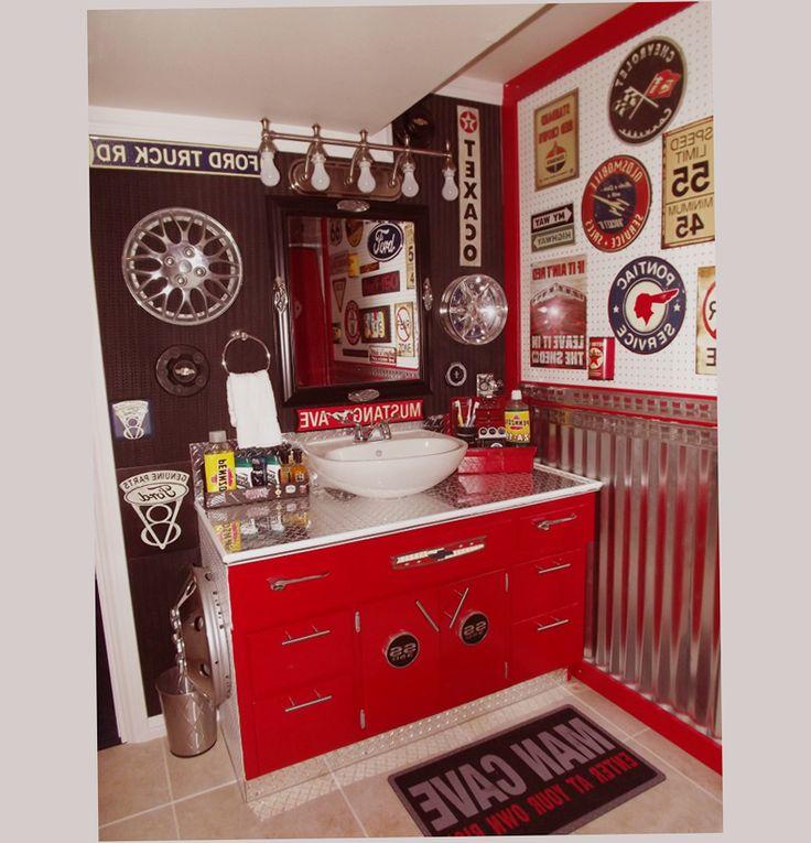58 best gas station themed bathroom ideas images on for Garage bathroom decor