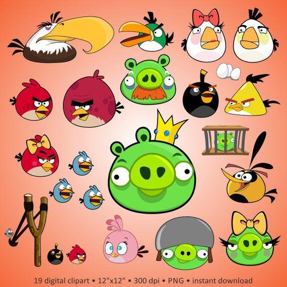 Buy 2 Get 1 Free Digital Clipart Angry Birds Crazy Cartoon
