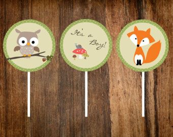 Woodland Animals Cupcake Topper or Party by PinkPaperTrail on Etsy