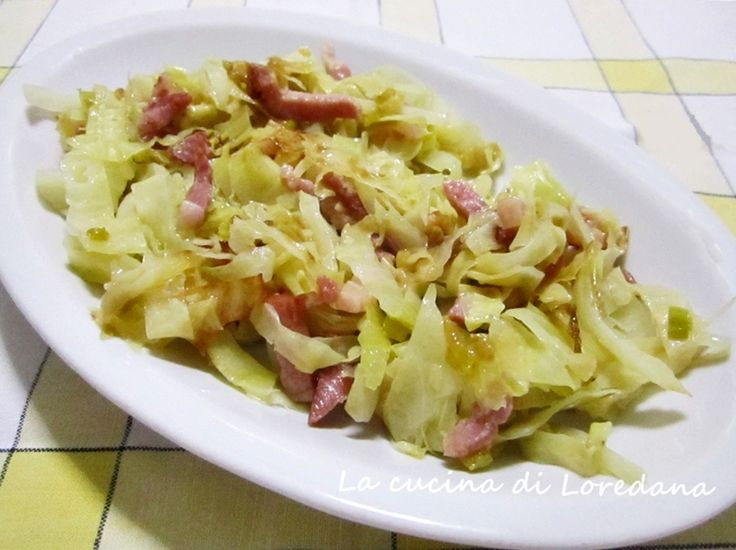 Cavolo stufato con pancetta - Ricetta contorno