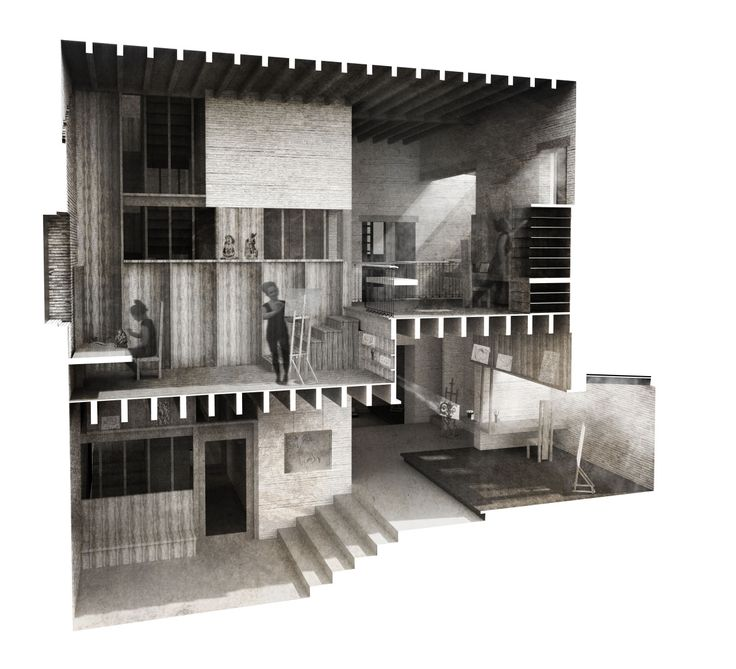 An awesome Sectional Perspective submitted to Visualizing Architecture!