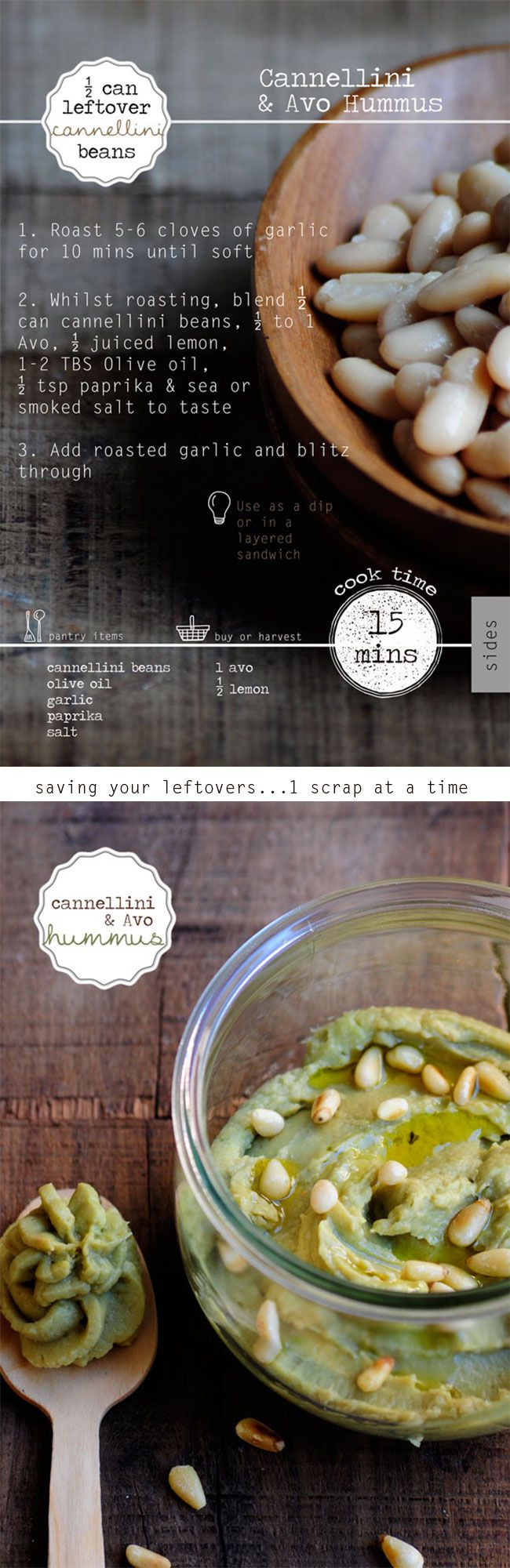 A quick, easy, healthy side for dipping or for the lunchbox whipped up from leftover cannellini beans!