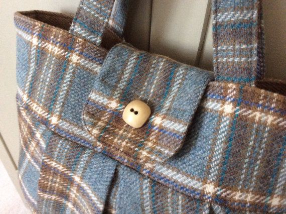 Plaid Wool Handbag by FlaxandLoom on Etsy