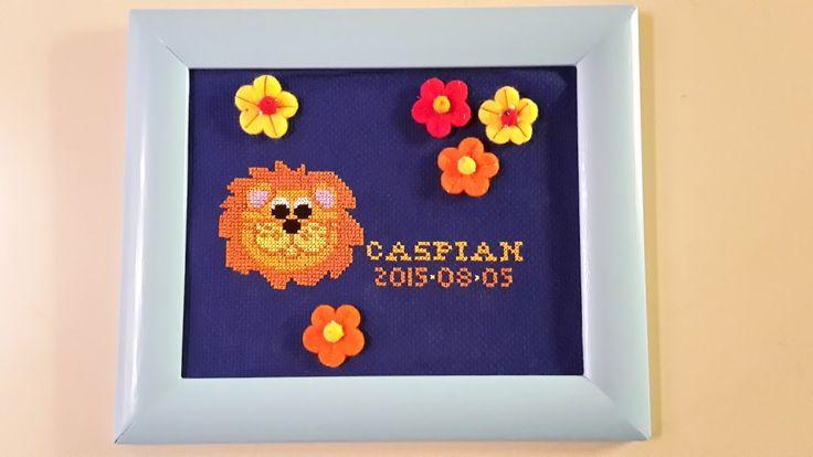 Korsstygnstavla med lejon till Caspian Cross stitch, lion