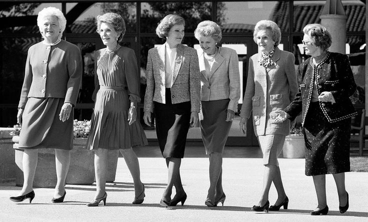 Six Firsts. 26 yrs ago today at the Reagan Library opening in Simi Valley. (L-R) First Lady Barbara Bush, former First Ladies Nancy Reagan, Rosalynn Carter, Betty Ford, Pat Nixon, and Lady Bird Johnson, Nov. 4, 1991.  Photo by David Kennerly