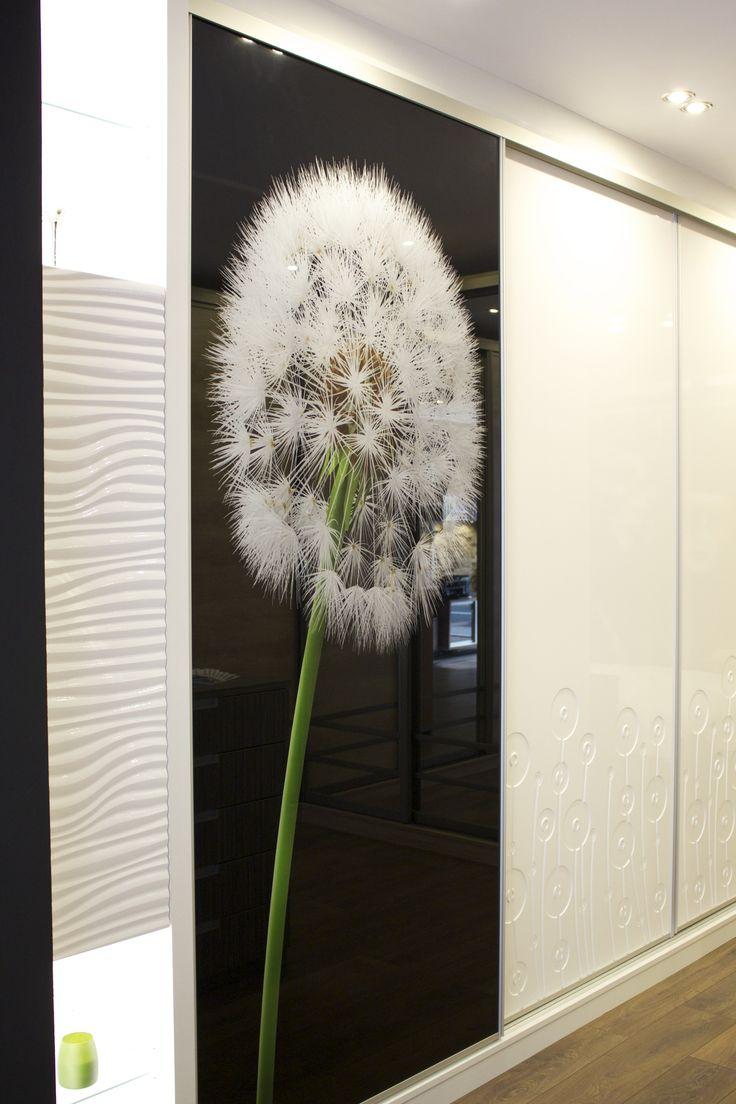 Proform & Art Glass Sliding Wardrobe with LED illuminated side cupboards Natural aluminium frame finish.