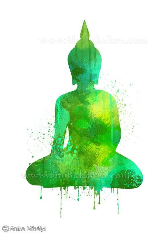 Green Buddha Print Meditating Buddha Wall Art Decor Etsy