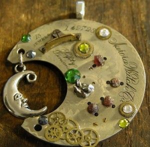 """Made By G – SteamPunk Moon """"The Aurora"""" Materials used: -Straight from Spencer Opal Mine Idaho,USA (4) Genuine Idaho Garnets (3) Genuine Nantan Iron Meteorites http://en.wikipedia.org/wiki/Nantan_meteorite (8) Night Blue, Yellow, Green and Clear Swarovski Crystals -Genuine antique engraved pocket watch part and vintage watch …"""
