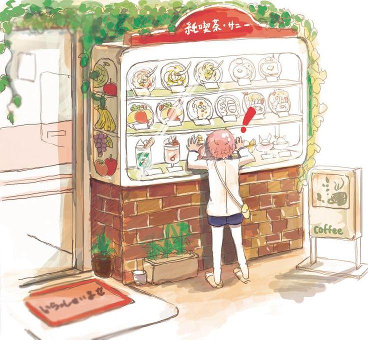 喫茶店の食品サンプルに夢中な秋田くん お題「お出かけ」 遅刻すみません! #短刀版深夜のお絵描き60分一本勝負