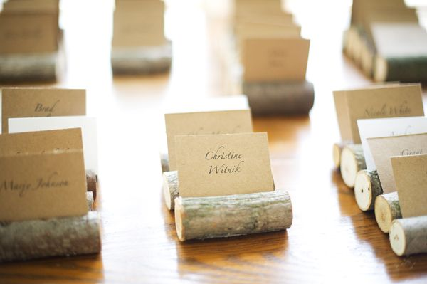 Wood stump escort card holders (Kelly Sweet Photography)