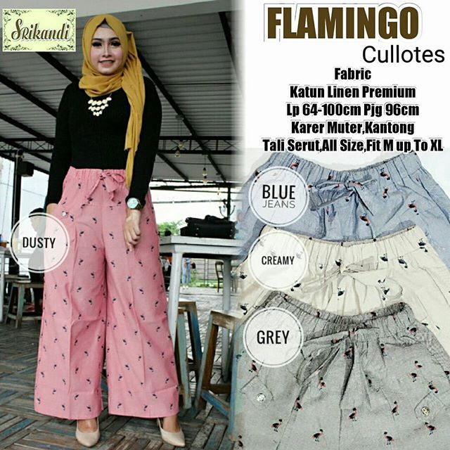 FLAMINGO CULLOTES   Matt :  Jeans Premium   Detail:  Lp60-100cm Pjg 96cm  Karet Muter  Fit M up to XL  Good Quality  Harga : 90.000    #khimarmurah #maximurah #gamis #gamismurah #syari #muslim #muslimahfashion #jilbabgrosir #jilbab #ootd #hijab #trend #like4like #l #hijabmurah #jeans #kulot