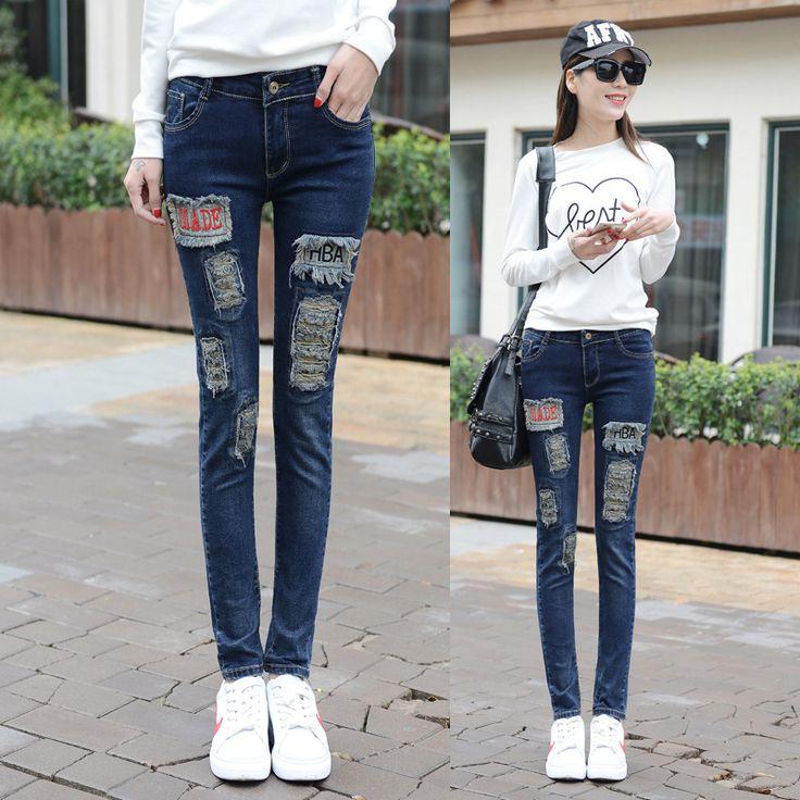 High Waist Jeans Hot Sale Cotton Zipper Fly Mid Plaid 2016 Summer New Waist Jeans Female Feet Long Pants Slim Pencil Pattern