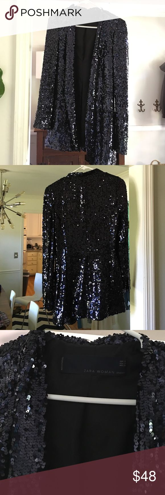 Zara Navy Blue Sequined Blazer Excellent condition Zara size small navy blue sequin blazer. Perfect for a night out on the town, a special occasion or just to jazz your wardrobe! Zara Jackets & Coats Blazers