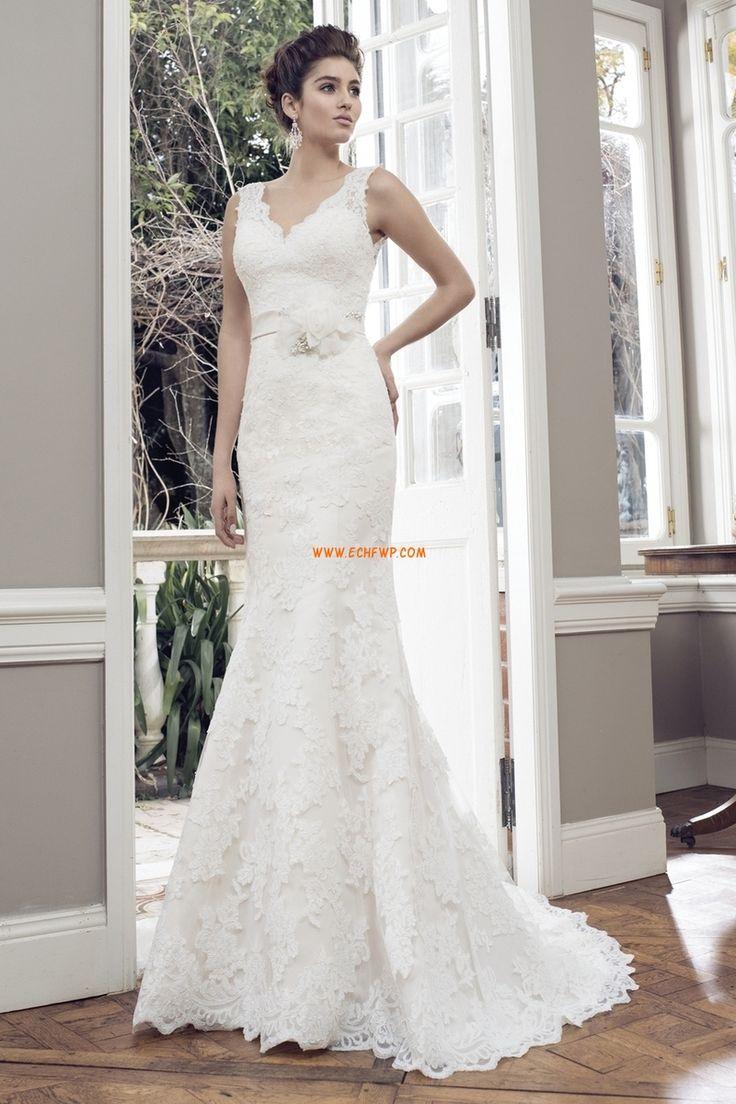 Spets Elegant & Lyxig Naturlig Lyx Bröllopsklänningar