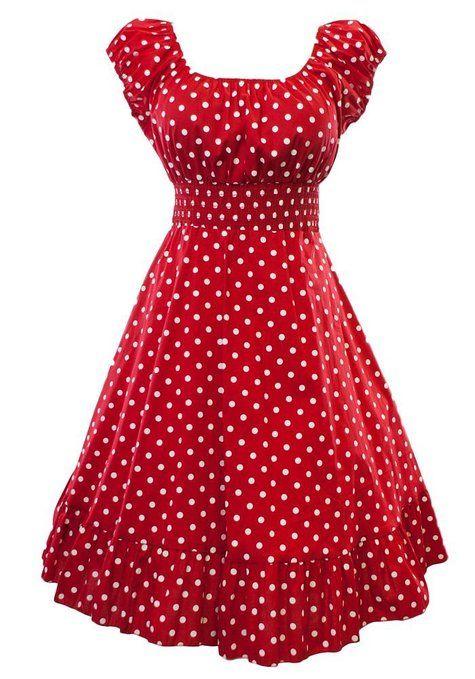 Retro 1950s Polka Dot Smock Swing Plus Size Fashion Dress at Amazon Women's Clothing store: