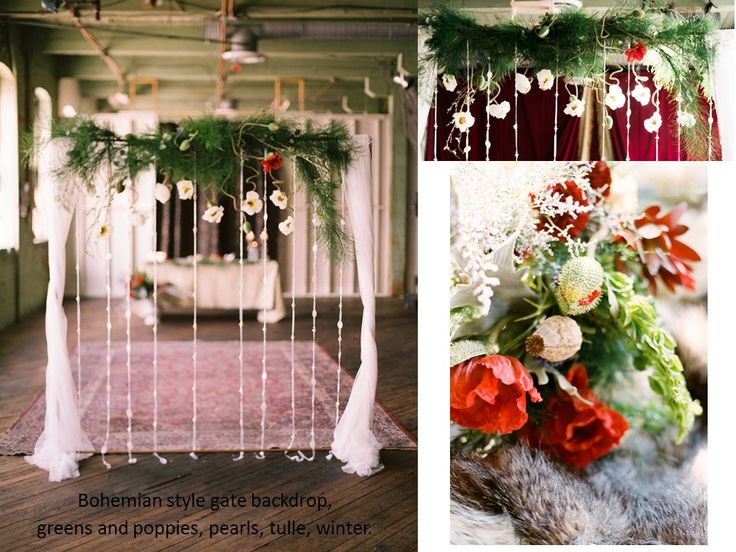 Bohemian style gate backdrop,  greens and poppies, pearls, tulle, winter.