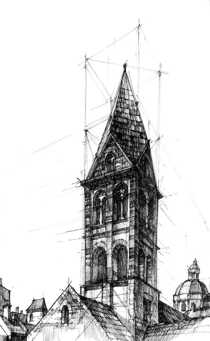 Romanesque tower. Drawn in DOMIN Poznan drawing school - https://www.facebook.com/domin.poznan