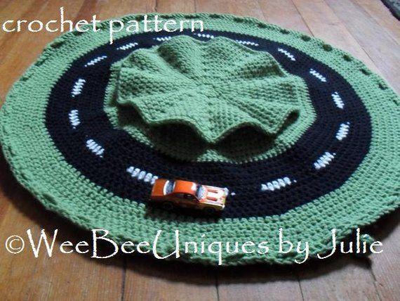 Crochet Pattern Instant Digital Download Play Mat Race Car Etsy Crochet Patterns Crochet Crochet Car