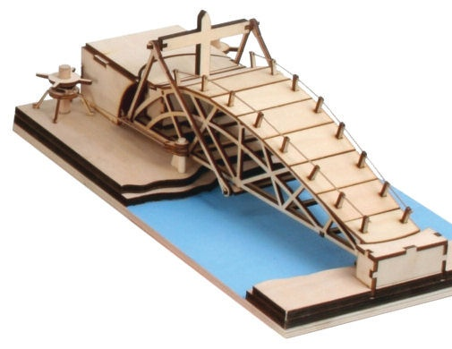 Revell Leonardo Da Vinci Parabolic Swing Bridge Model Kit 0504 | Hobbies Scale: 1:72 Leonardo's revolving bridge could be quickly packed up and transported for use by armies on the move to pass over bodies of water. The device had wheels and incorporated a rope-and-pulley system. Height: 107mm Width: 170mm Length: 325mm
