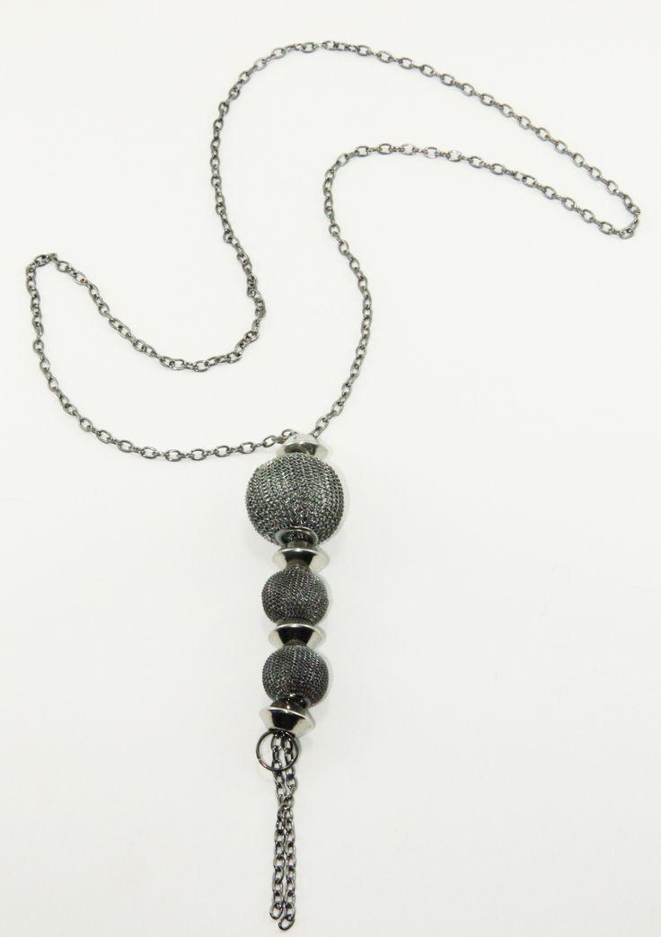 Black Nikel Sıralı Top Kolye 52 cm uzunlugunda. www.suanyemoda.com